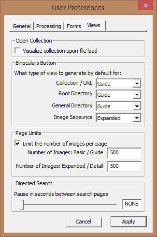 Screen capture of the User Preferences Dialog Window with the Views Tab selected